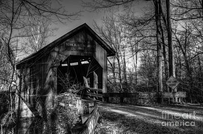 Bean Blossom Bridge Bw Art Print by Mel Steinhauer