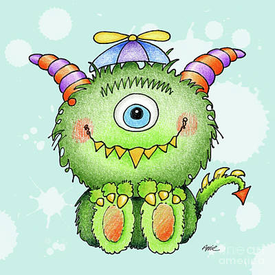 Colored Pencil Painting - Beanie Monster by Annie Troe