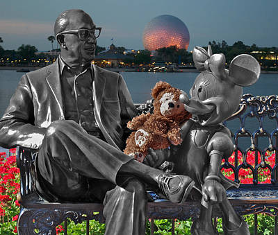 By Thomas Woolworth Photograph - Bear And His Mentors Walt Disney World 05 by Thomas Woolworth