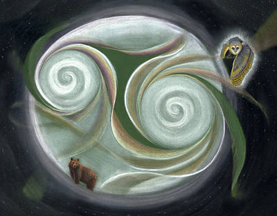 Animals Drawings - Bear and Owl in Night Sky by Robin Aisha Landsong
