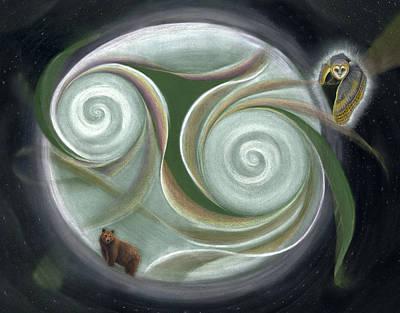 Bear And Owl In Night Sky Art Print