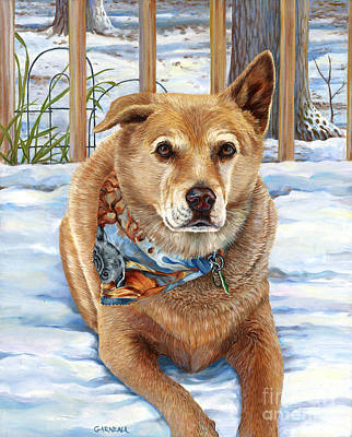 Dogs In Snow Painting - Bear by Catherine Garneau