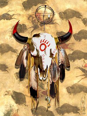 Painted Buffalo Skull Mixed Media - Bear Clan Skull by R Mark Heath