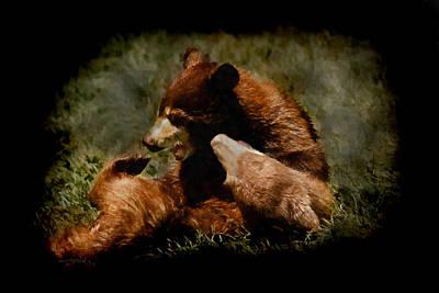 Digital Art - Bear Cubs Playing by Ernie Echols