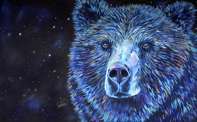 Bear Painting - Bear Dreams by Teshia Art