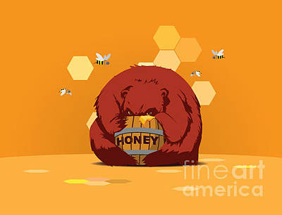 Bee Wall Art - Digital Art - Bear Eats Honey From Barrel Against by Funhare
