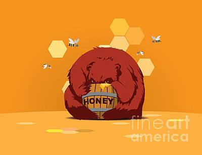 Bees Wall Art - Digital Art - Bear Eats Honey From Barrel Against by Funhare