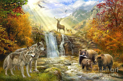 Autumn Landscape Digital Art - Bear Falls by Jan Patrik Krasny