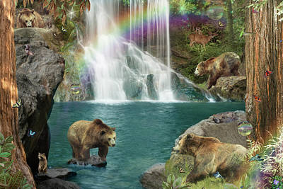 Waterfalls Drawing - Bear Falls  Magical Variation  by Alixandra Mullins