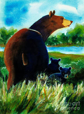 Painting - Bear Family At The Lake by Kathy Braud