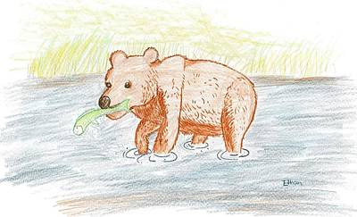 Drawing - Bear Fishing by Ethan Chaupiz