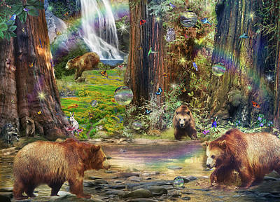 Bear Forest Magical 2 Print by Alixandra Mullins