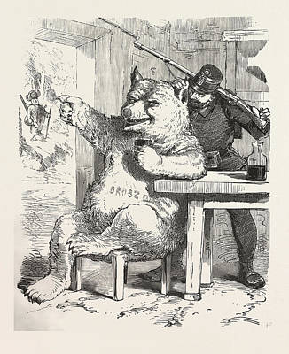 Table Wine Drawing - Bear Having A Glass Of Wine, Around 1870, Hungary, Wine by Hungarian School