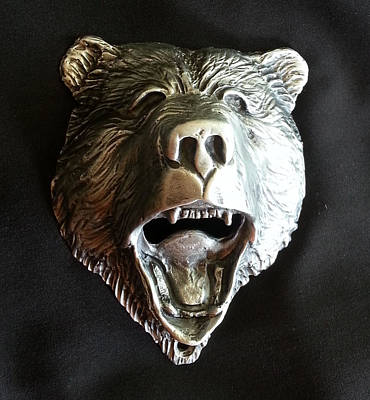 Sculpture - Bear Head Bottle Opener by Tim  Joyner