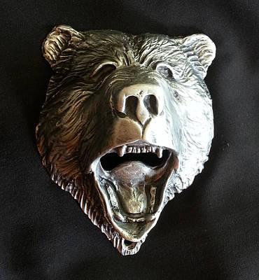 Sculpture - Bear Head Bottle Opener by Tim  Joyner
