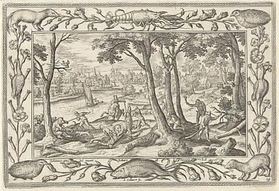 Wood Table Drawing - Bear Hunting, Adriaen Collaert, Eduwart Hoes Winckel by Adriaen Collaert And Eduwart Hoes Winckel