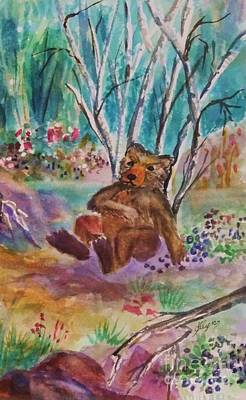 Painting - Bear In A Blueberry Patch by Ellen Levinson