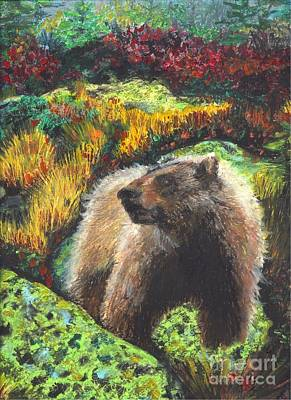 Pastel - Bear In Alpine Forest by Terri Thompson