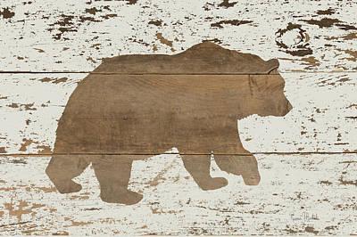 Reclaimed Wood Wall Art - Painting - Bear In Reverse by Ramona Murdock
