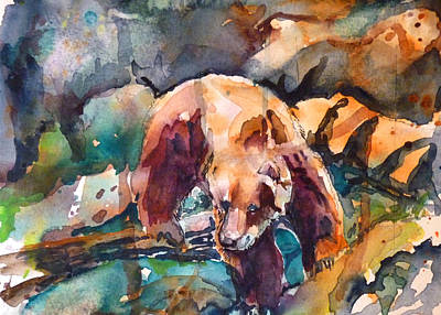 Bear In Rocks Art Print by P Maure Bausch