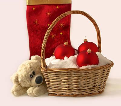 Bear Is Near Wicker With Christmas Balls  Art Print by Sviatlana Kandybovich