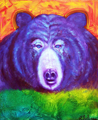 Colorful Painting - Bear by Laura Barbosa