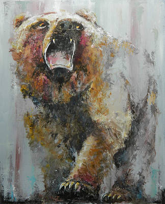Pallet Knife Painting - Bear Market by John Henne