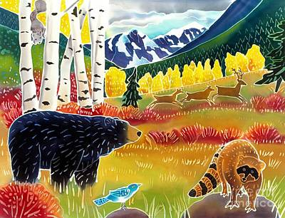 Colorado Wildlife Wall Art - Painting - Bear Meets Raccoon by Harriet Peck Taylor