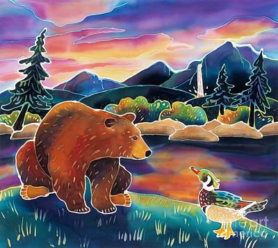Wood Duck Painting - Bear Meets Wood Duck by Harriet Peck Taylor