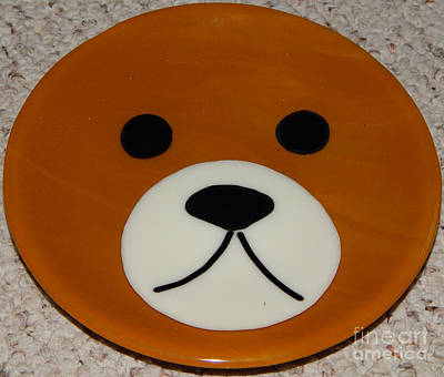 Glass Art - Bear Plate by Patricia  Tierney