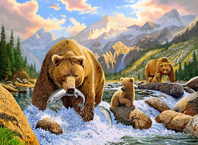 Bear Salmon Fishing Art Print by Chris Heitt