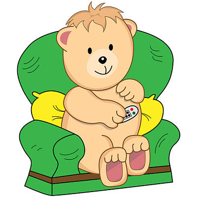 Cartoonist Digital Art - Bear Sat In Armchair Cartoon by Toots Hallam