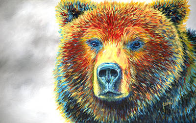 Grizzly Bear Painting - Bear Thoughts by Teshia Art