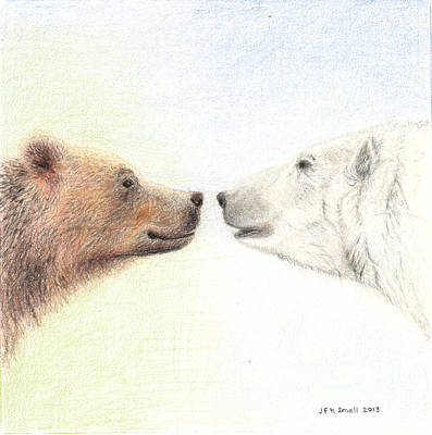 Bear To Bear - Nose To Nose Art Print by John Small