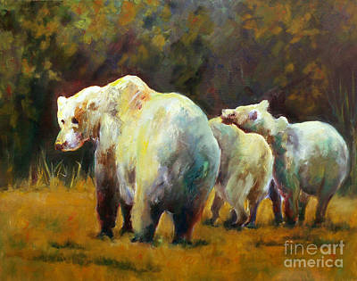 Painting - Bear With Cubs by Carolyn Jarvis
