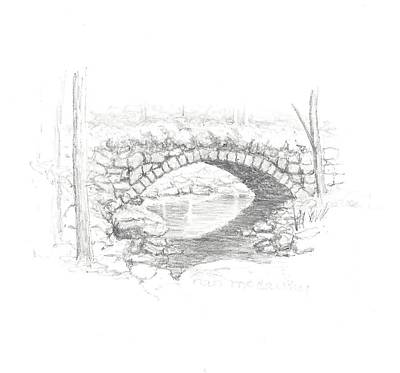 Nature Center Drawing - Beard Brook Bridge 1 by Nan McCarthy