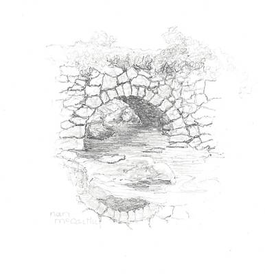 Nature Center Drawing - Beard Brook Bridge 2 by Nan McCarthy