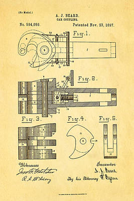 Railroads Photograph - Beard Railroad Coupler Patent Art 1897 by Ian Monk