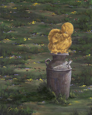Milk Can Painting - Bearded Buff Silkie Pullet Bantam by Gilda Goodwin