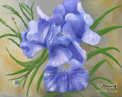 Painting - Bearded Iris Blue Iris Floral  by Judy Filarecki