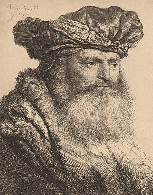 Pen And Paper Drawing - Bearded Man In A Velvet Cap With A Jewel Clasp by Rembrandt