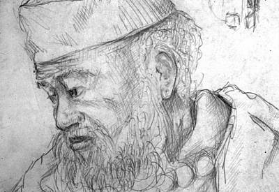 Phils Drawing - Bearded Man by Phil Welsher