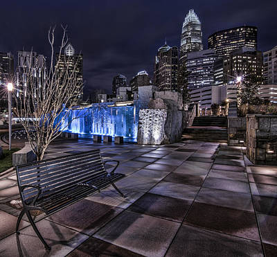 Charlotte Skyline Photograph - Bearden Bench by Chris Austin