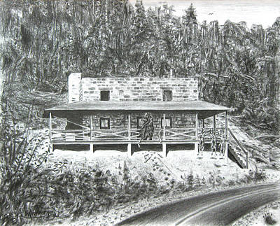 Drawing - Bearry Springs Hunting Camp by Michael Morgan