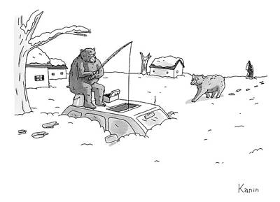 April 8th Drawing - Bears Above The Snowstorm Fish For Humans Trapped by Zachary Kanin