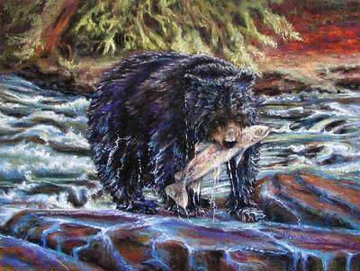 Painting - Bears' Catch Of The Day by Denise Horne-Kaplan