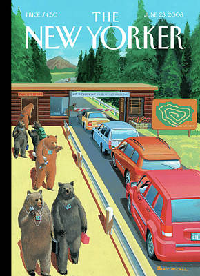 National Parks Painting - Bears Leaving Work At A National Park by Bruce McCall