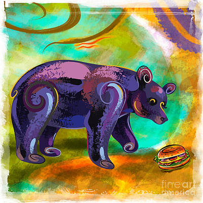 Bears Love Burger Art Print by Bedros Awak