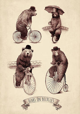 Cycling Drawing - Bears On Bicycles by Eric Fan