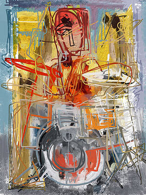 Drummer Mixed Media - Beat Banging by Russell Pierce